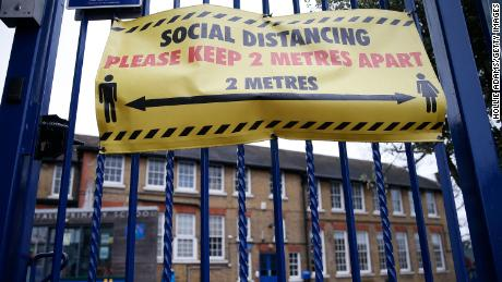 A general view of social distancing signs is displayed at Coldful Primary School in Moswell Hill on January 2, 2021 in London, England.