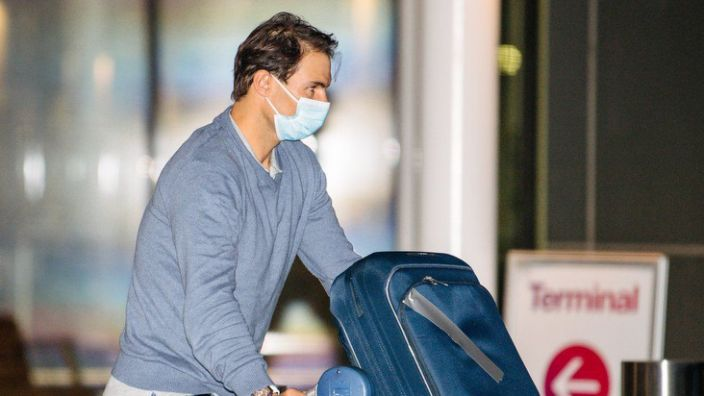 Raphael Nadal pictured at Adelaide Airport