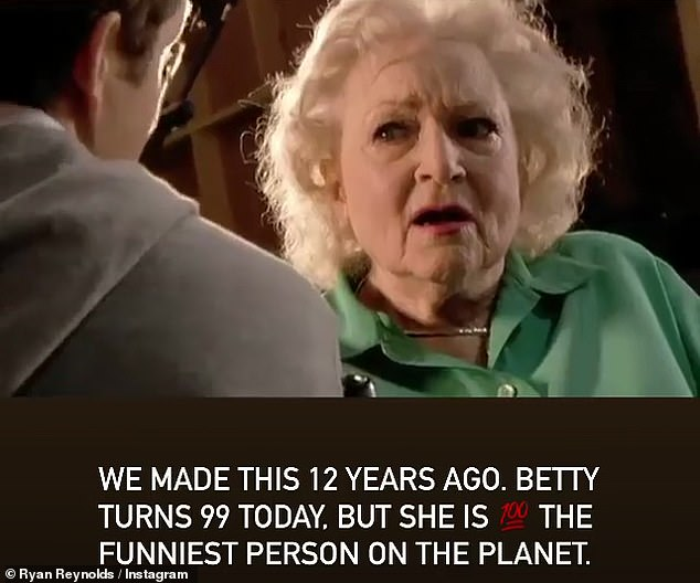 In honor: The 44-year-old wrote: 'We've been making this for 12 years.  Betty is 99 years old today.  but she [100 emoji] The funniest person on the planet