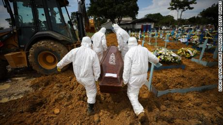 Cemetery workers in protective suits carry the coffin of a person who died of Covid-19 at the Nusa Senhora Aparecida cemetery in Brazil on January 15.