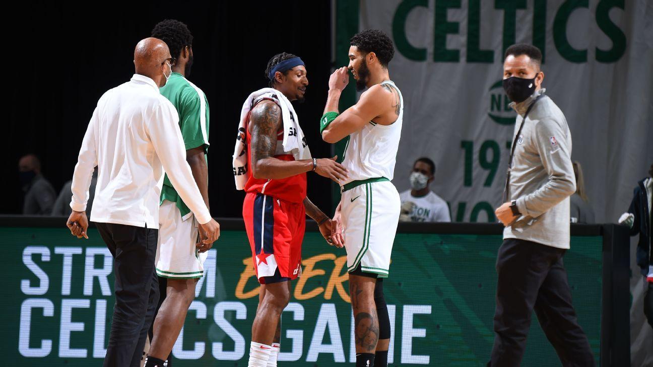 Boston Celtics short-range match against the Miami Heat;  Jason Tatum at The Protocol, followed by Bradley Bell of The Washington Wizards